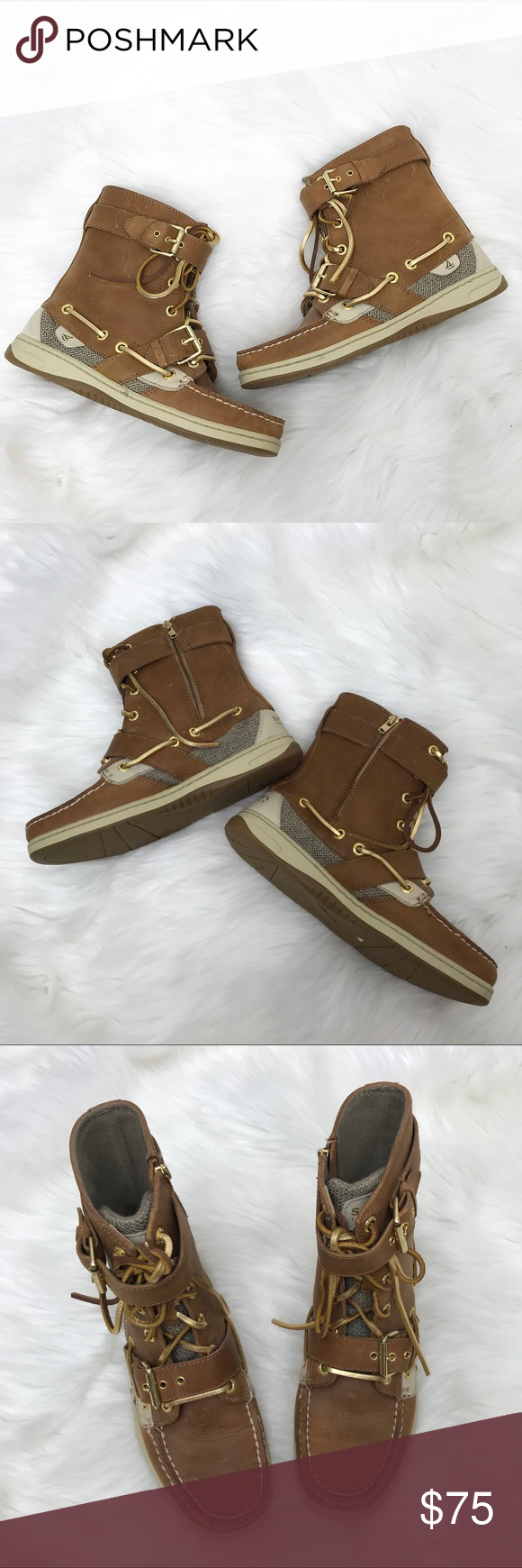 0e75a878090 Sperry Top-Sider  Tan Boat Shoe Boots