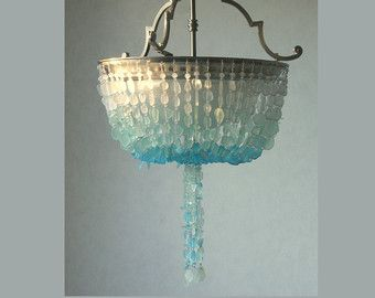 Wonderful Sea Glass Chandelier Ombre Semi FLUSH Coastal Decor Beach Glass Ceiling  Fixture * The Caroline Sound *