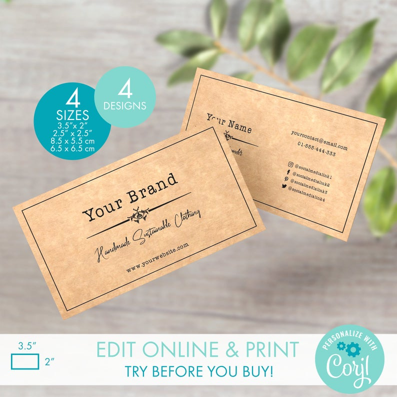 Editable Square Business Card Template Vintage Style 2 5 X 2 5 Printable Kraft Business Card Template Diy Rustic Business Card Design Rustic Business Cards Business Card Template Square Business Card