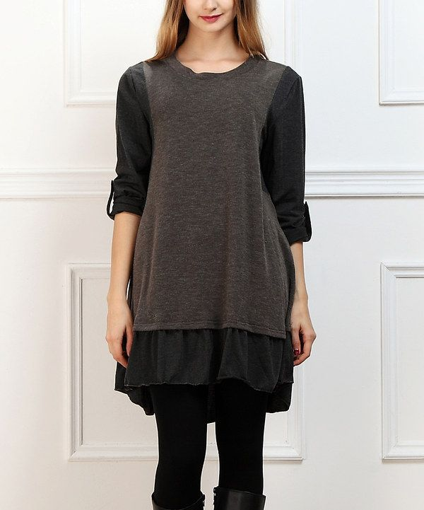 Look at this Charcoal Roll-Tab Drop-Waist Dress on #zulily today!