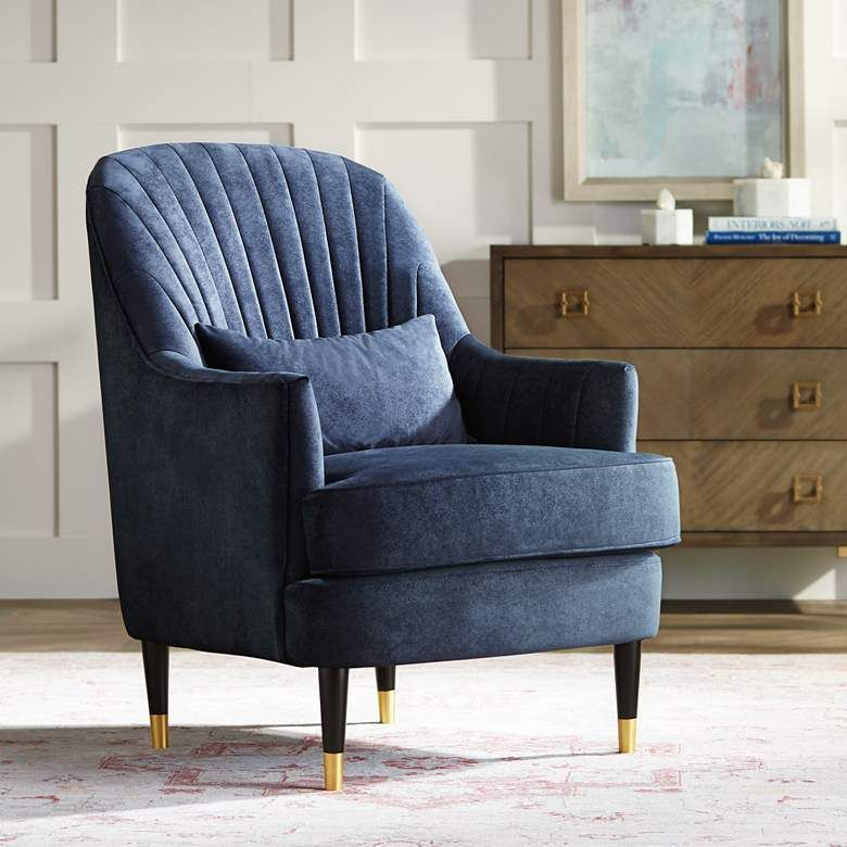 Austen navy velvet tufted armchair with pillow 78r36