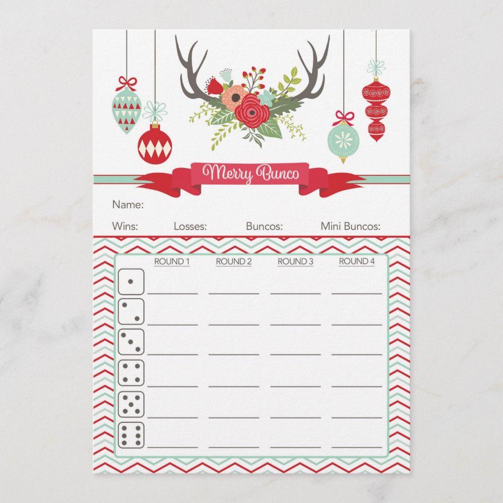 Christmas Bunco Score Card Deer Antlers Zazzle Com Bunco Bunco Score Sheets Bunco Party