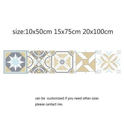 Photo of Arabic Style Mosaic Tile Stickers For Living Room Kitchen Retro 3D Waterproof Mural Decal Bathroom Decor DIY Adhesive Wallpaper – 16 / 15x75cm