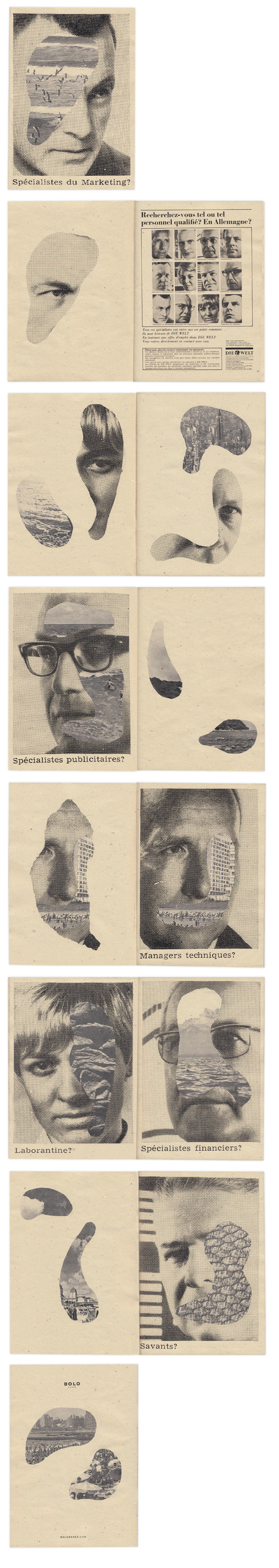 """Spècialistes du Marketing?  A4 format, beije paper 160 gr, 20 pages, b/w. A serie af analog collages made out of a """"Die Welt"""" old french adv mixed with some panoramic vintage photo shots."""