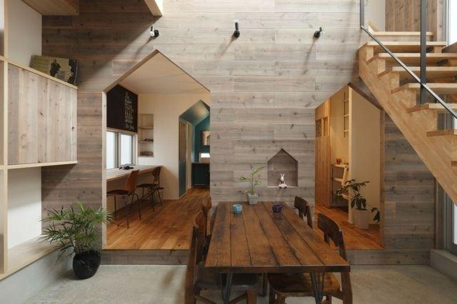 Holz Wand Puristisches Holz Verkleidung Haus Flur