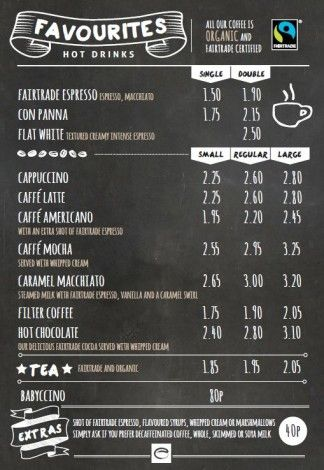 Esquires-Coffee-Favourites-Menu | Cafe Ideas in 2019 ...
