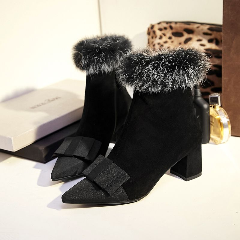 87b4fd873991 Women s Med Heel Comfortable Ankle Boots Pointed Toe Sweet Bowtie Short  Booties Rabbit Fur Brand Designer Winter Shoes for Women