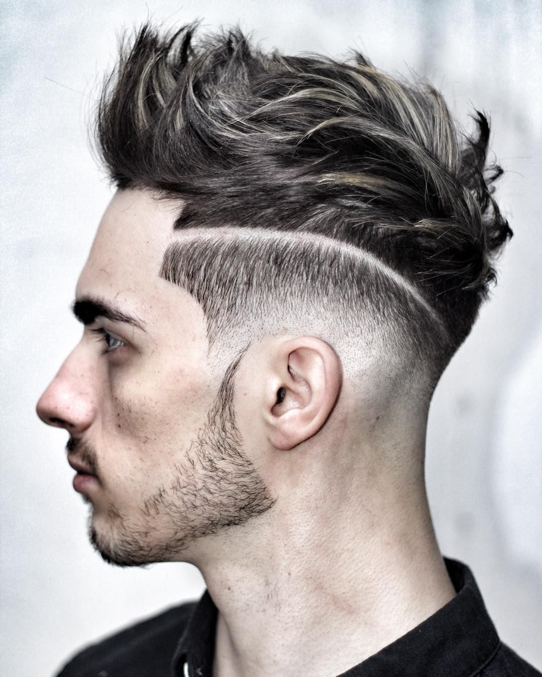 high low fade + hard part + textured quiff | that hair tho