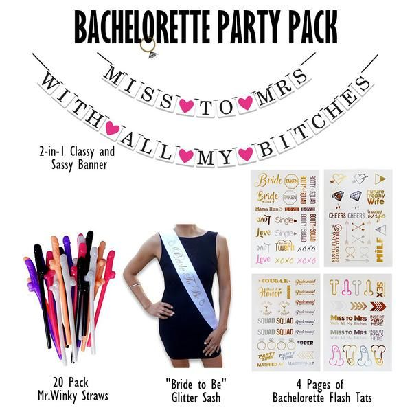 0eeb0e7c88 PACK INCLUDES  4 Sheets of Bachelorette Party Flash Tattoos 2-in-1 Classy  and Sassy