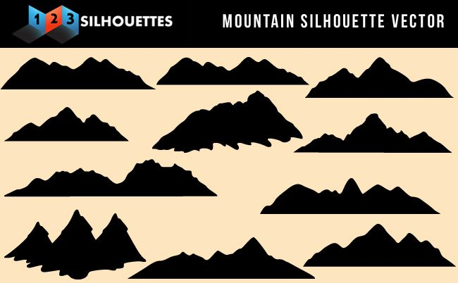 Beautiful mountain vector silhouette nature gallery free Mountain silhouette