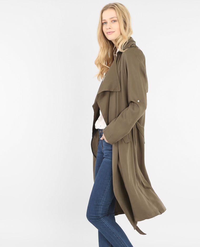 1cf7caf692fa4 Trench long kaki | Modes | Manteau femme, Veste manteau femme et ...