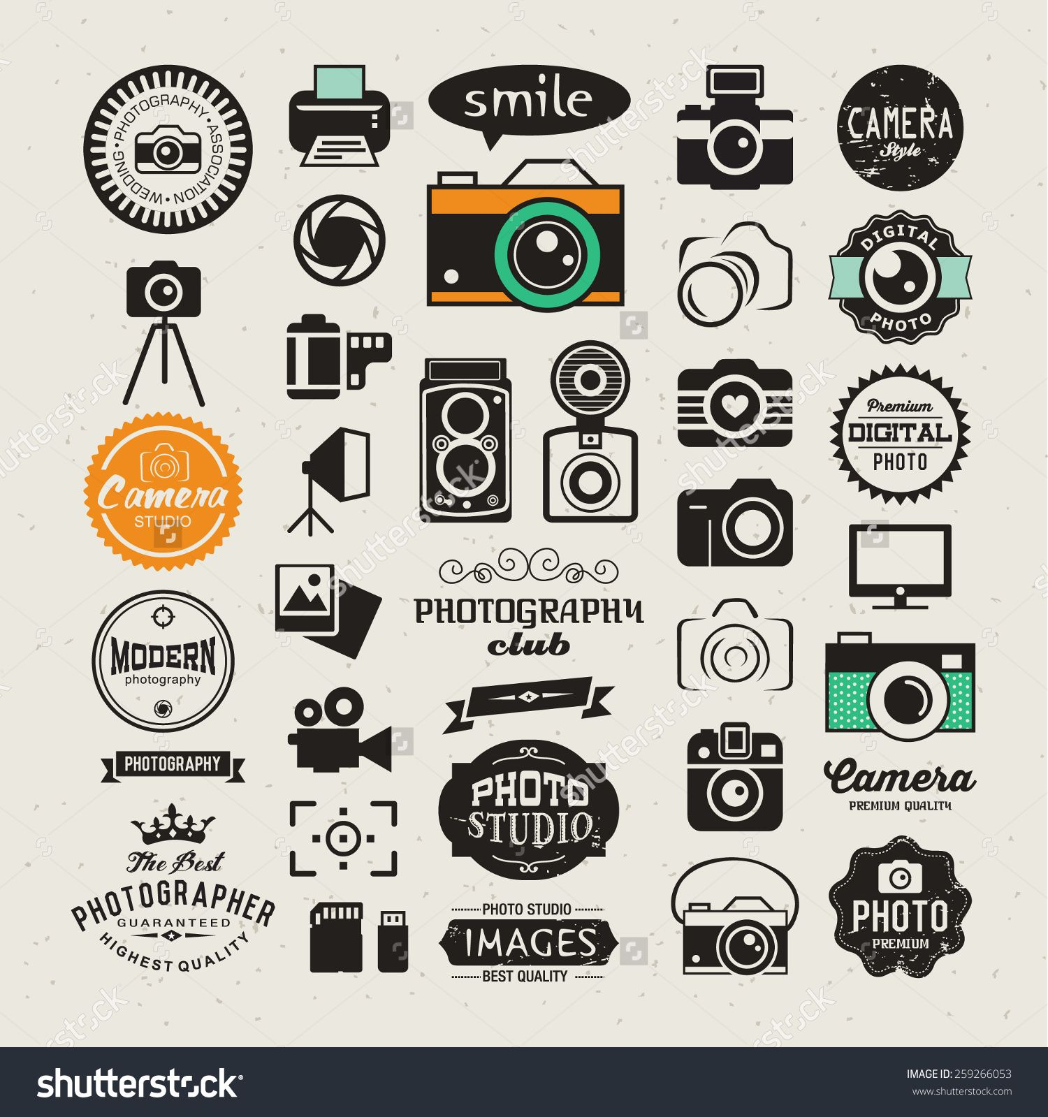 Photography Vintage Retro Icons Badges And Labels Set Vector