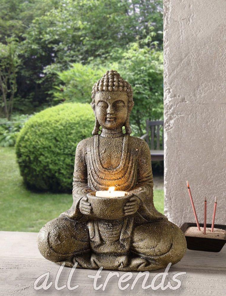 Buddha Kerzenhalter Dekofigur Feng Shui Asia Buddismus Thailand