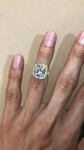 4.50 Carat Elongated Cushion Moissanite & Diamond Halo Split Shank Ross Gold   R... -  4.50 Carat Elongated Cushion Moissanite & Diamond Halo Split Shank Ross Gold   Raven Fine Jewelers, - #Carat #Crystaljewelrydiy #Cushion #Diamond #diyjewelry #diymodernjewelry #Elongated #gold #halo #jewelryringsdiamond #Moissanite #Ross #shank #split
