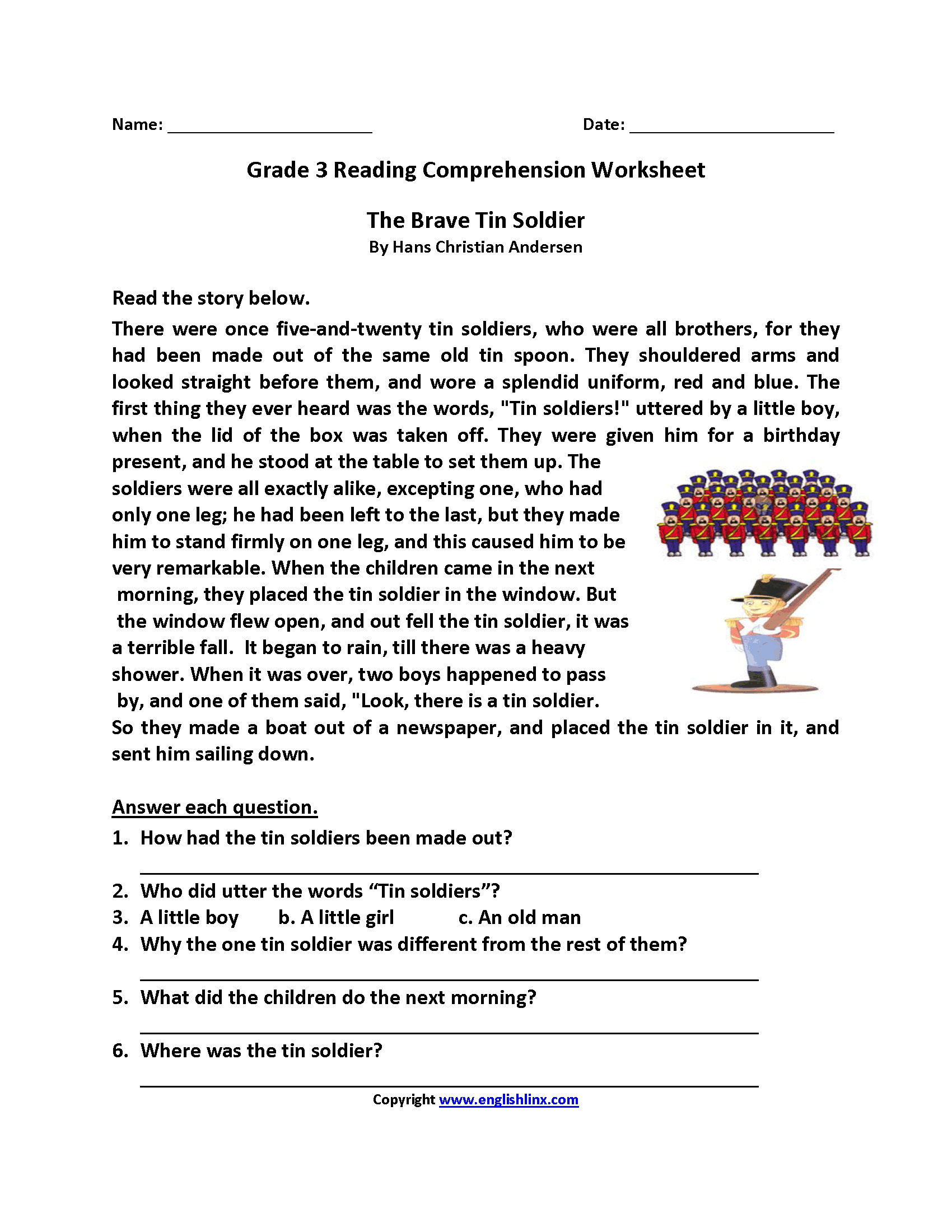 - Brave Tin Soldier Third Grade Reading Worksheets Comprehension