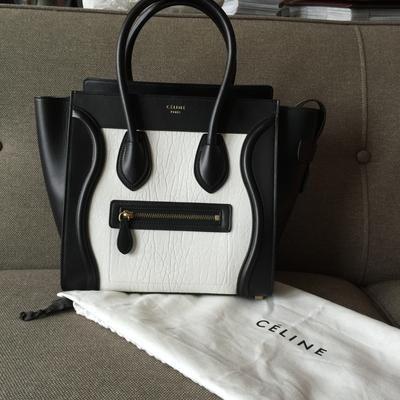 Celine Micro Luggage Tote In Black White Bullhide Calfskin