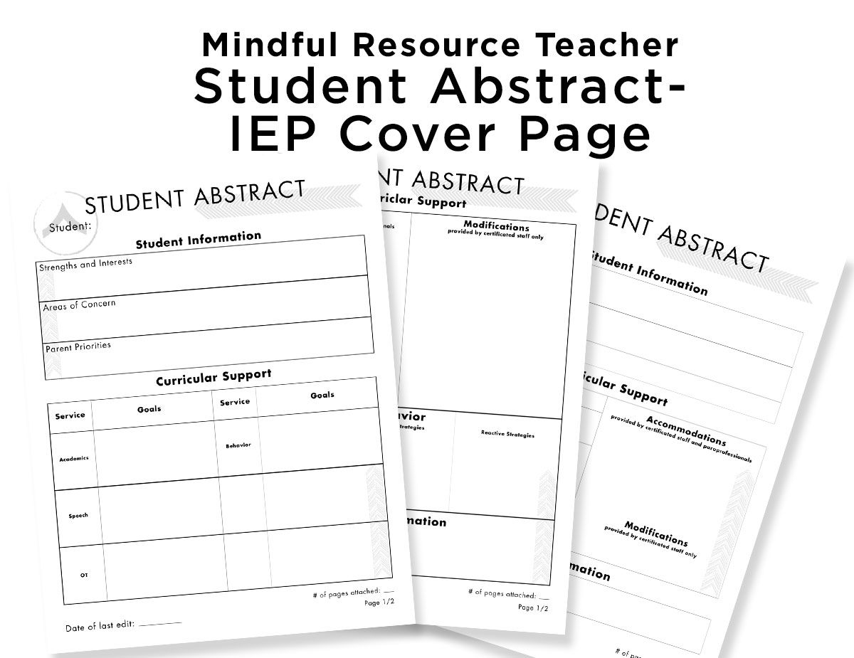 Student Abstract- IEP Cover Sheet | MRT Resources | Special