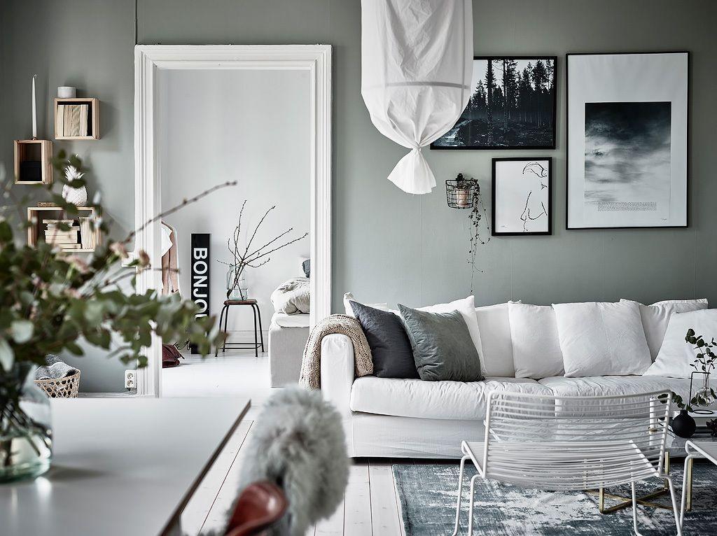 Grüne Oase in Göteborg oder ist Grün das neue Grau? Lilaliv - wohnzimmer design grun