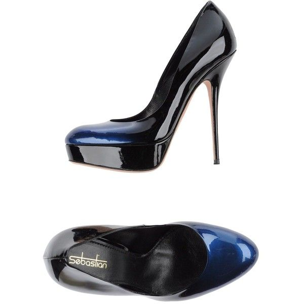 Sebastian Pump ($385) ❤ liked on Polyvore featuring shoes, pumps, blue, blue leather pumps, real leather shoes, sebastian professional, spiked heel shoes and round toe pumps