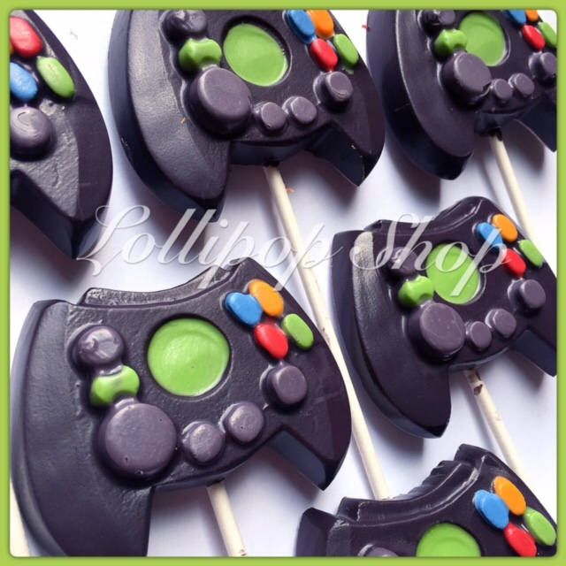 12 Xbox Controller Solid Chocolate Lollipops Birthday Video Game Gamer Birthday Party By Krazypops Chocolate Lollipops Xbox Controller Video Games Birthday