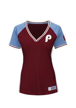 88767e19db9 Philadelphia Phillies Womens Majestic League Diva Fashion Baseball Jersey -  Maroon