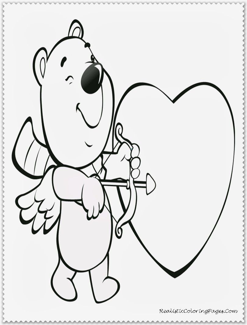 Stunning Kids Valentine Coloring Pages 63 Cupid Bear Kids Valentine
