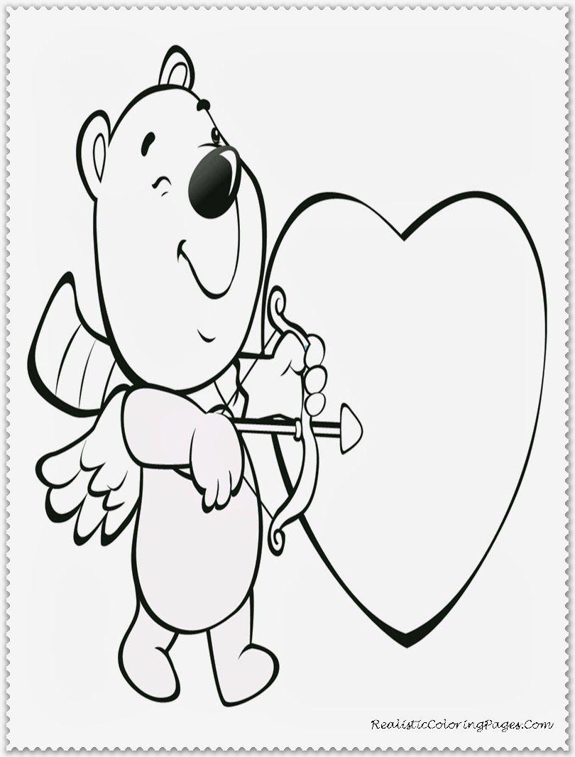 Cupid Bear Kids Valentine Coloring