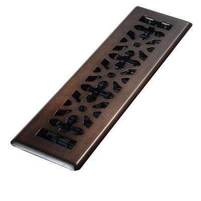2 in. x 12 in. Steel Rubbed Bronze Gothic Design Floor Register