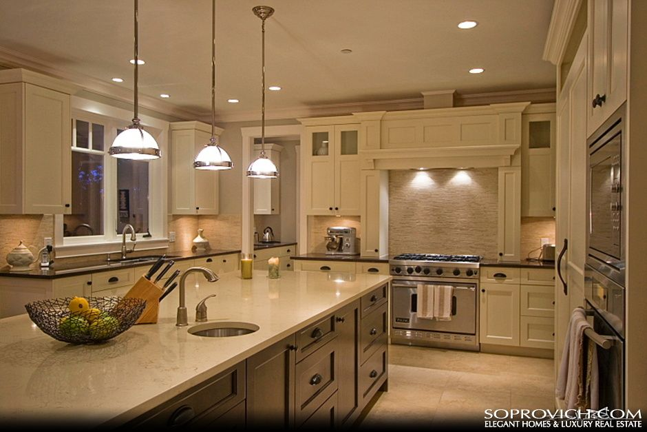 Custom Gourmet Kitchen With Center Island Lake House