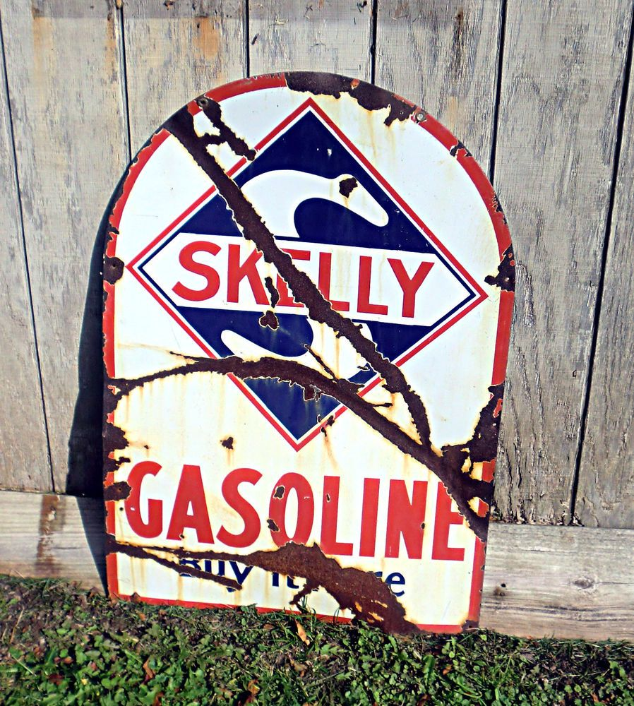 """Vintage 28""""x40"""" Skelly Gasoline Headstone Sign Double Sided As Found HardTo Find #SkellyGasoline"""