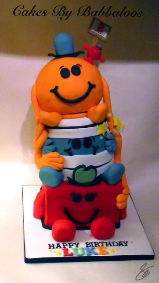 Mr Men Cake My hardest cake yet! Made for my nephews second birthday in my tiny kitchen! So stressful but worth it! If you like it please give it a favourite! Thank you xxx  S.Birch -Babbaloos