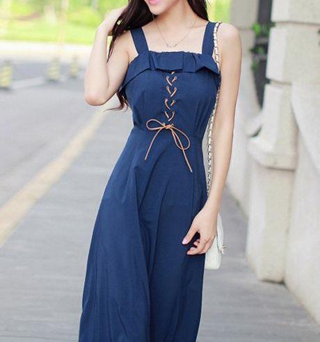 Lace Up High Waist Navy Dress