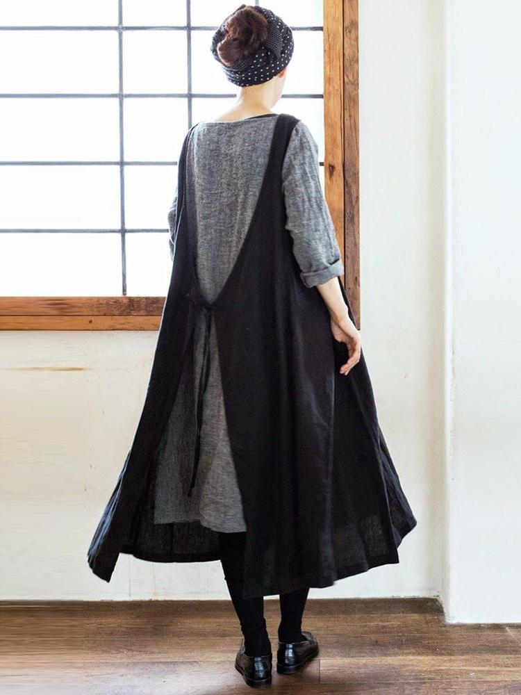 01cf6162fbf83 Women Muti-Way Japanese Style Cotton Solid Apron Dress - Banggood Mobile