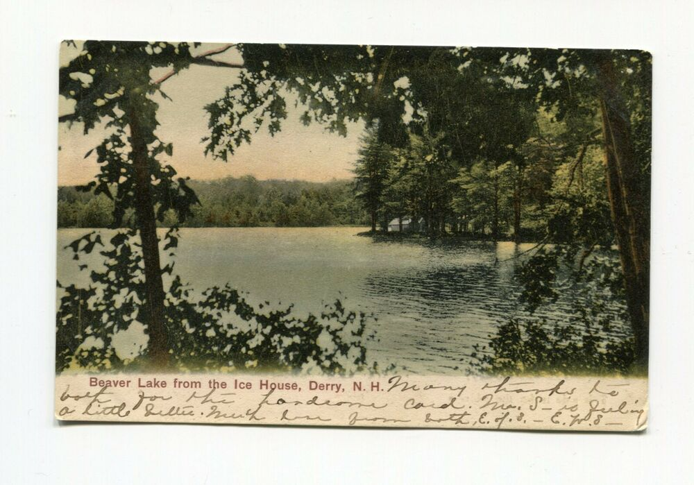 Postcard   Derry NH   Beaver Lake from the Ice House   UDB Card
