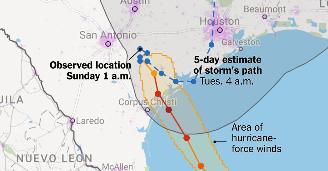Maps Tracking Harveys Destructive Path Through Texas And - Map through satellite