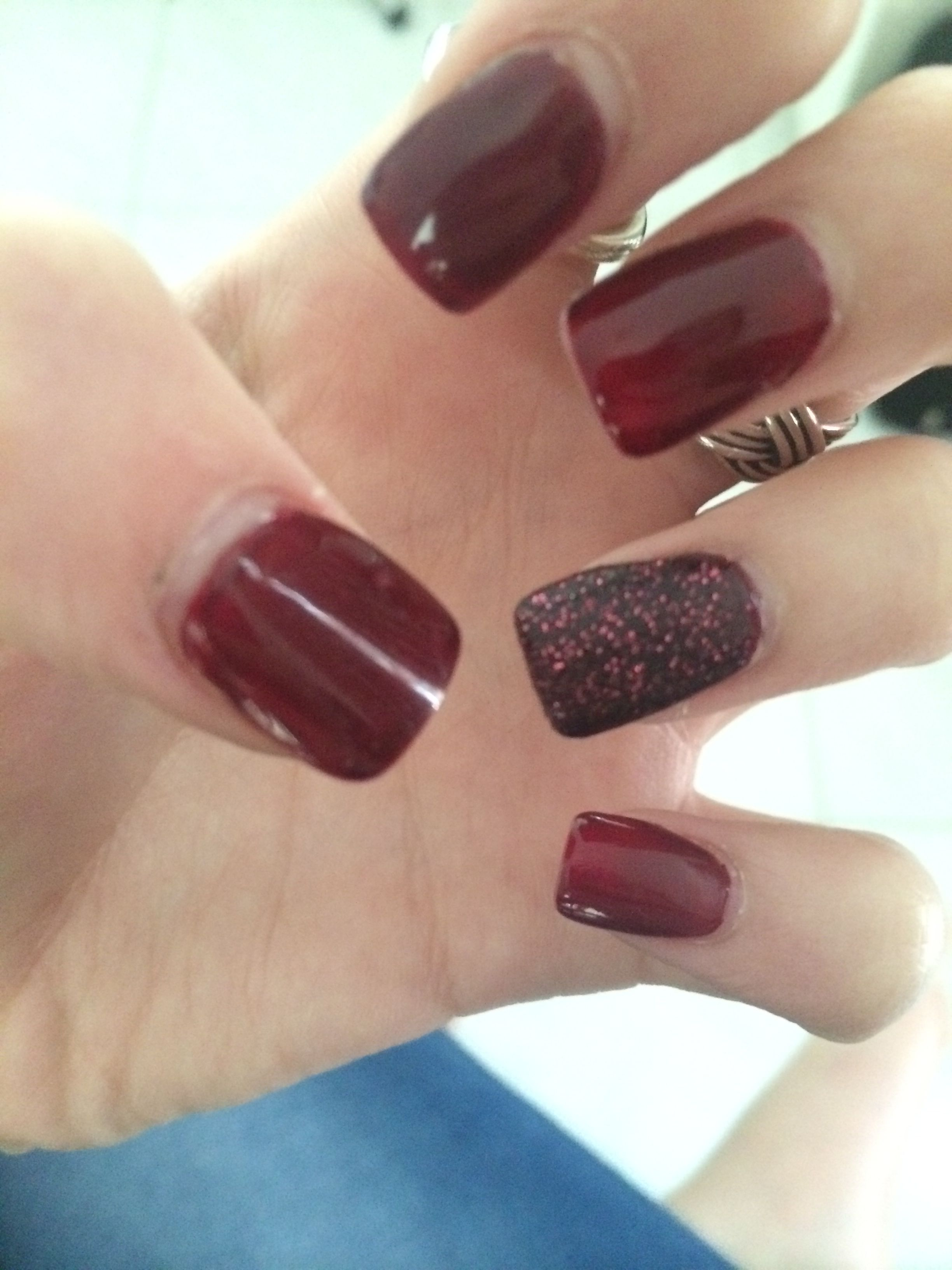 Dark red nails with OPI liquid sand accent nail | Nails | Pinterest ...