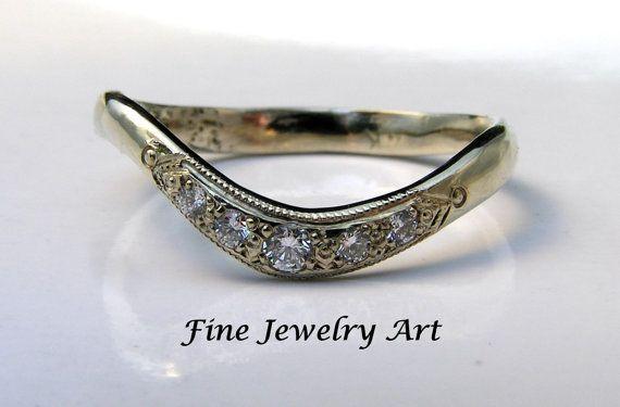 Elegant 5 Diamond Curved Ring in Handmade 14k by FineJewelryArt