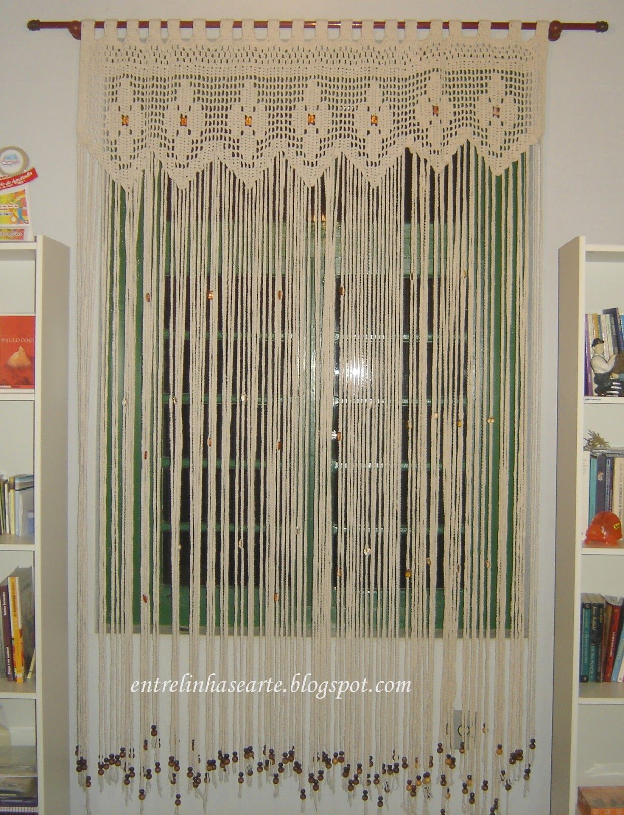 Entre Linhas E Arte Cortina De Barbante De Croch Crochet