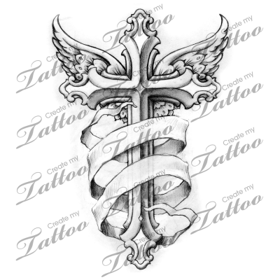 winged cross with banner tattoo ideas pinterest banners rh pinterest com cross tattoo designs with banner cross tattoo with name banner