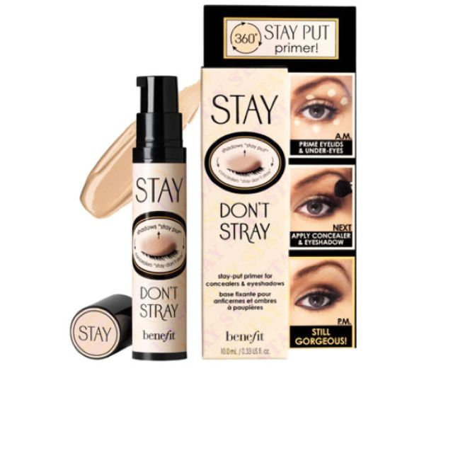 EYE PRIMER: for those who have oily eyelids or hooded eyes, or just more trouble keeping shadow on. very adhesive & can be used under eye for concealer stay power as well. Benefit Stay Don't Stray