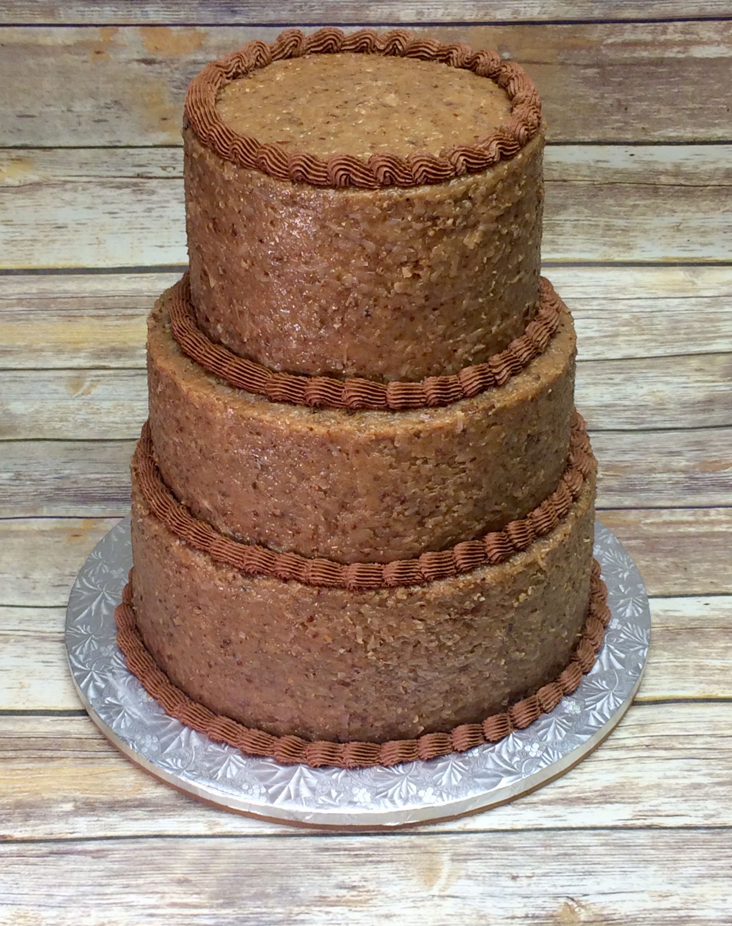 8 10 12 3 Tiered German Chocolate Grooms Cake With