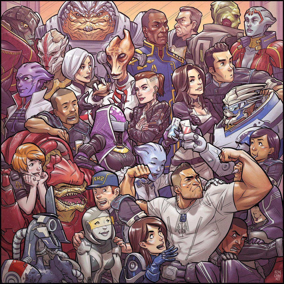 Mass Effect Trilogy Art by: Ron Chan (@RonDanChan) | Twitter | Mass effect  funny, Mass effect art, Mass effect