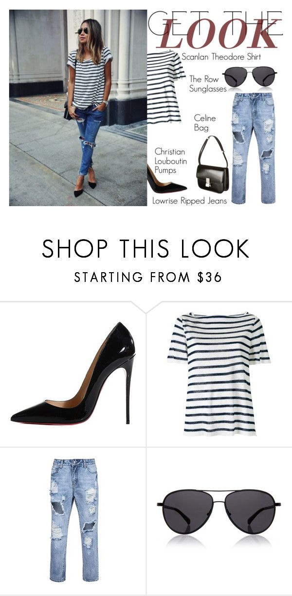"""""""Get The Look: Stripes"""" by aemun-ahmad ❤ liked on Polyvore featuring Christian Louboutin, Scanlan Theodore and The Row"""