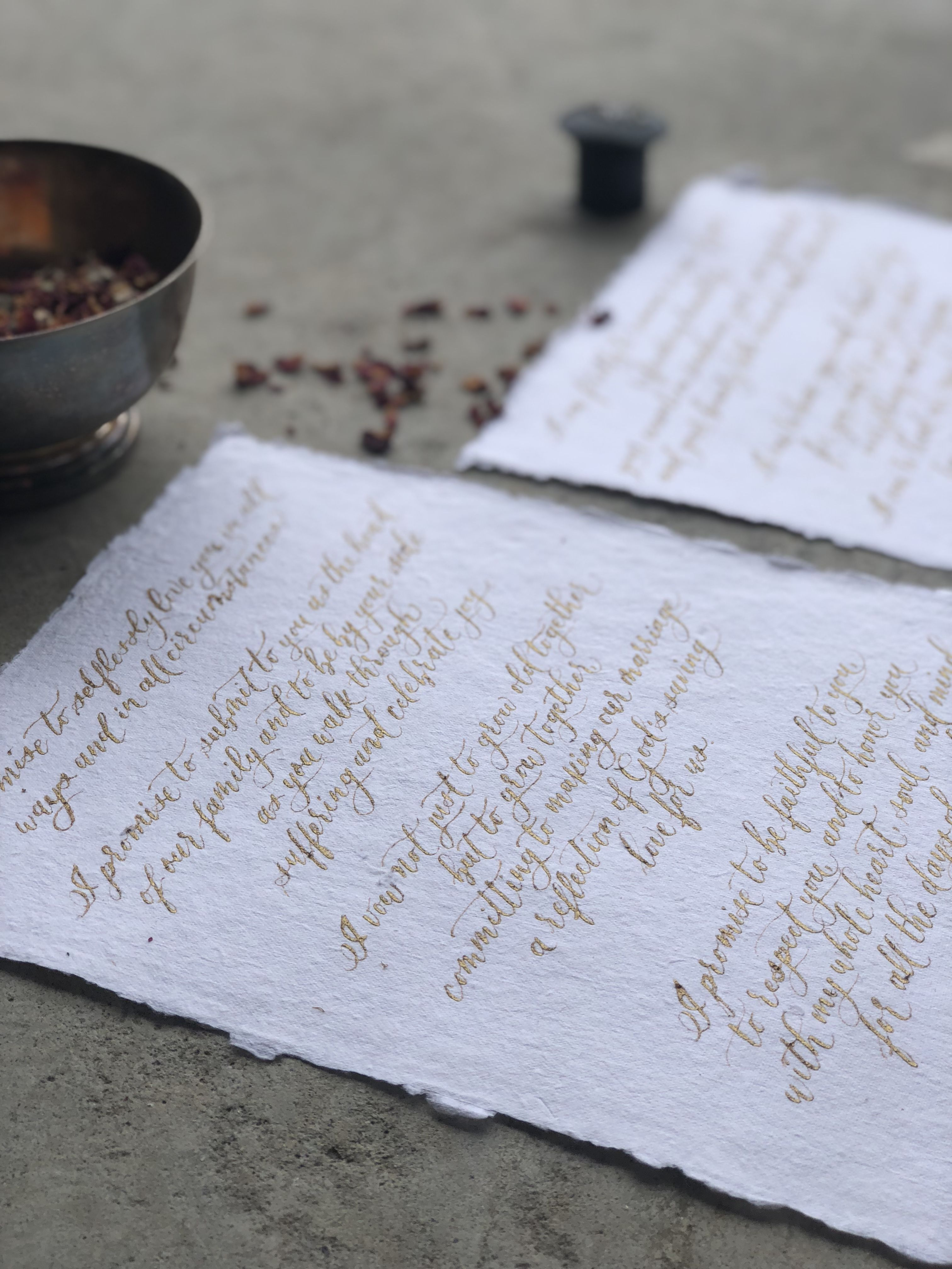 Wedding Vows On Handmade Paper And Pointed Pen Modern