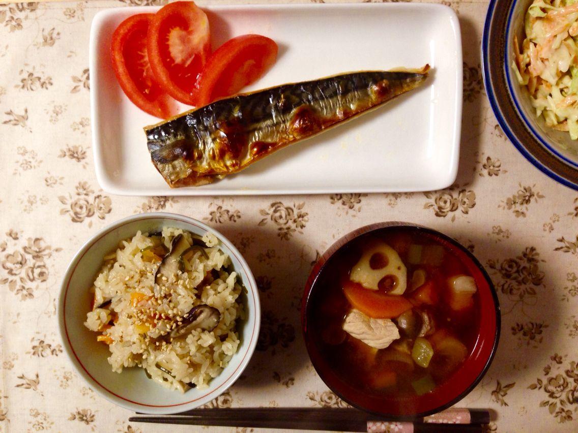 Saba fish, mushroom rice and pork + vege miso soup