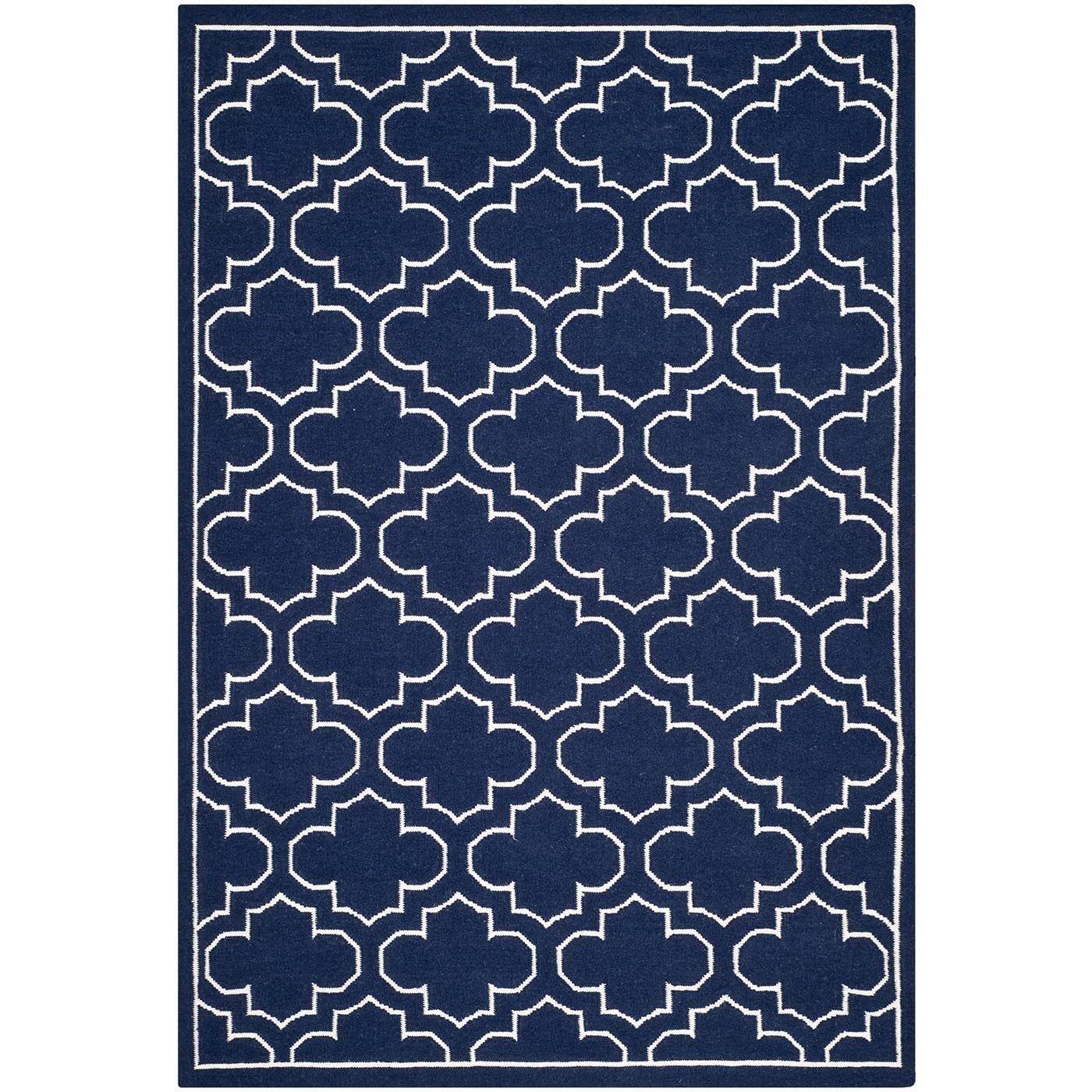 Safavieh Hand Woven Moroccan Reversible Dhurrie Navy Blue Wool Rug