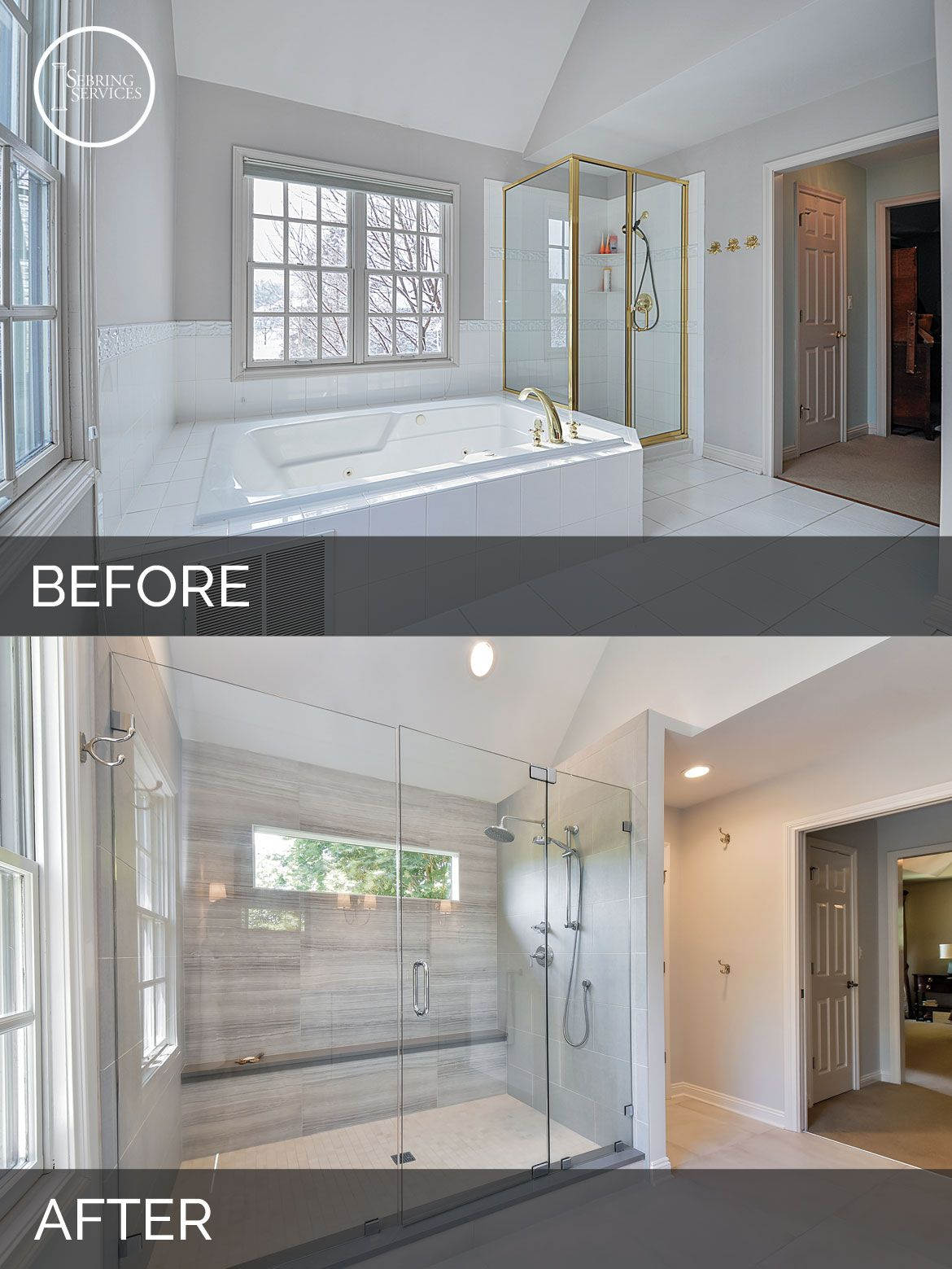 Carl susan 39 s master bath before after pictures for Master bed and bath remodel