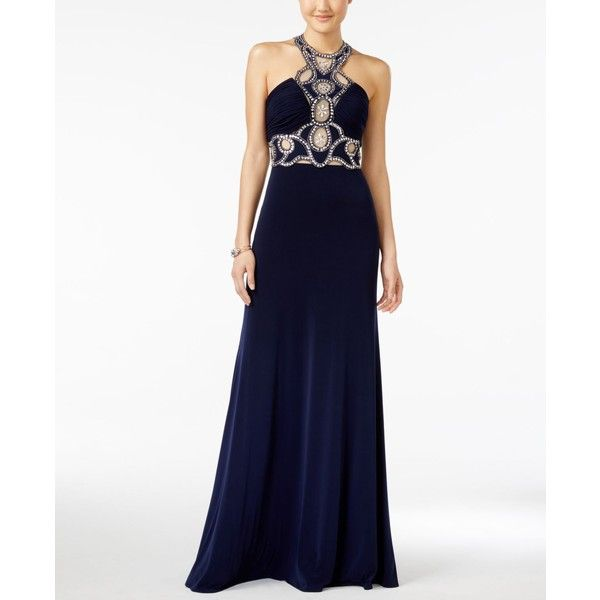 Jump Juniors' Rhinestone Illusion Halter Gown ($135) ❤ liked on Polyvore featuring dresses, gowns, navy, white evening dresses, navy blue dress, navy evening gown, white halter gown and white evening gowns
