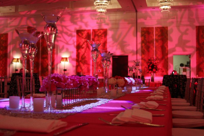 Floral designs on the wall with pink uplighting.  This was all the way around the room.   www.briansnyderentertainment.com