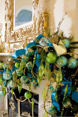 Turquoise and lime mantle decor